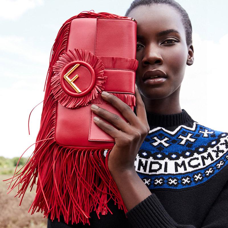 Fendi Baguette Fringe Leather Shoulder Bag