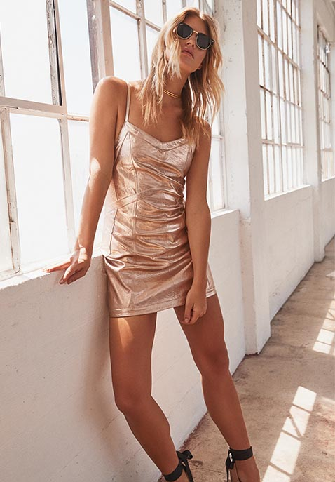 For Love & Lemons Luna Metallic Dress