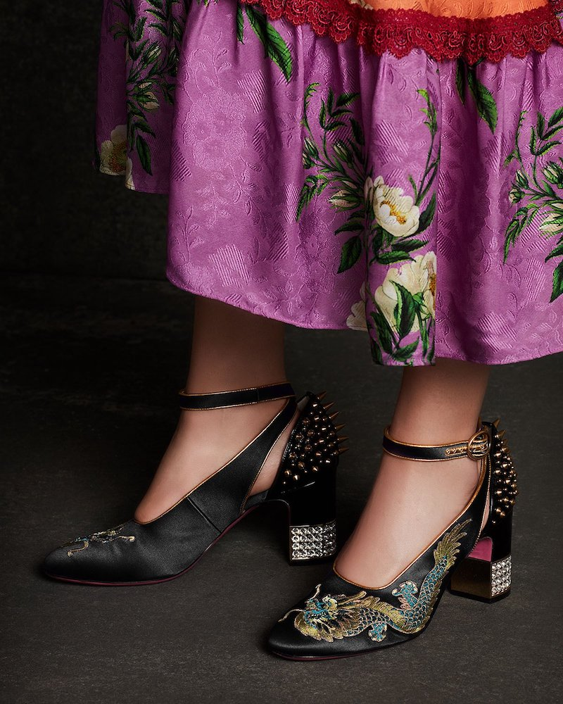 Gucci Caspar Embroidered Satin Ankle-Wrap Pump
