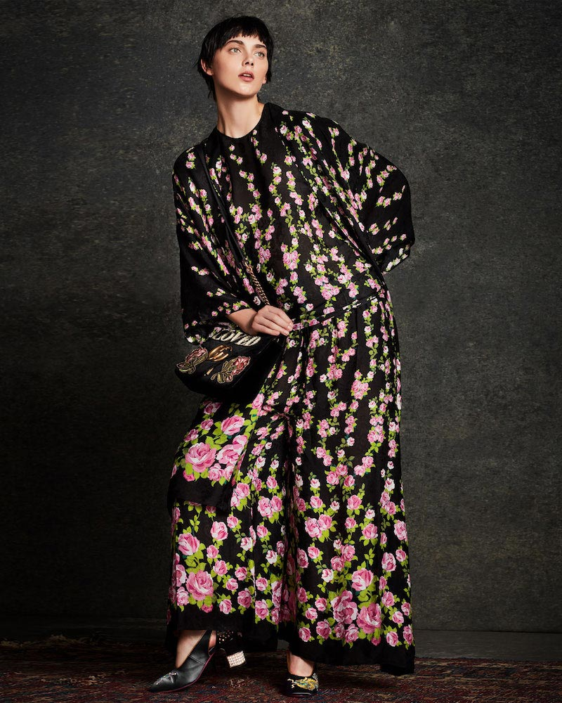 Gucci Climbing Roses Print Pajama Pant