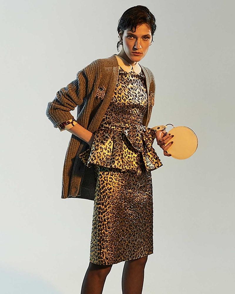 Gucci Leopard-Jacquard Peplum Dress