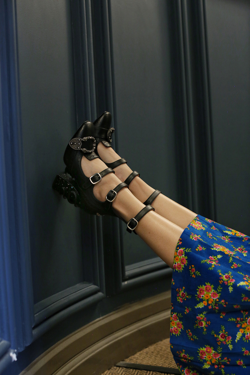 Gucci Queercore Crystal-Embellished Block-Heel Pumps