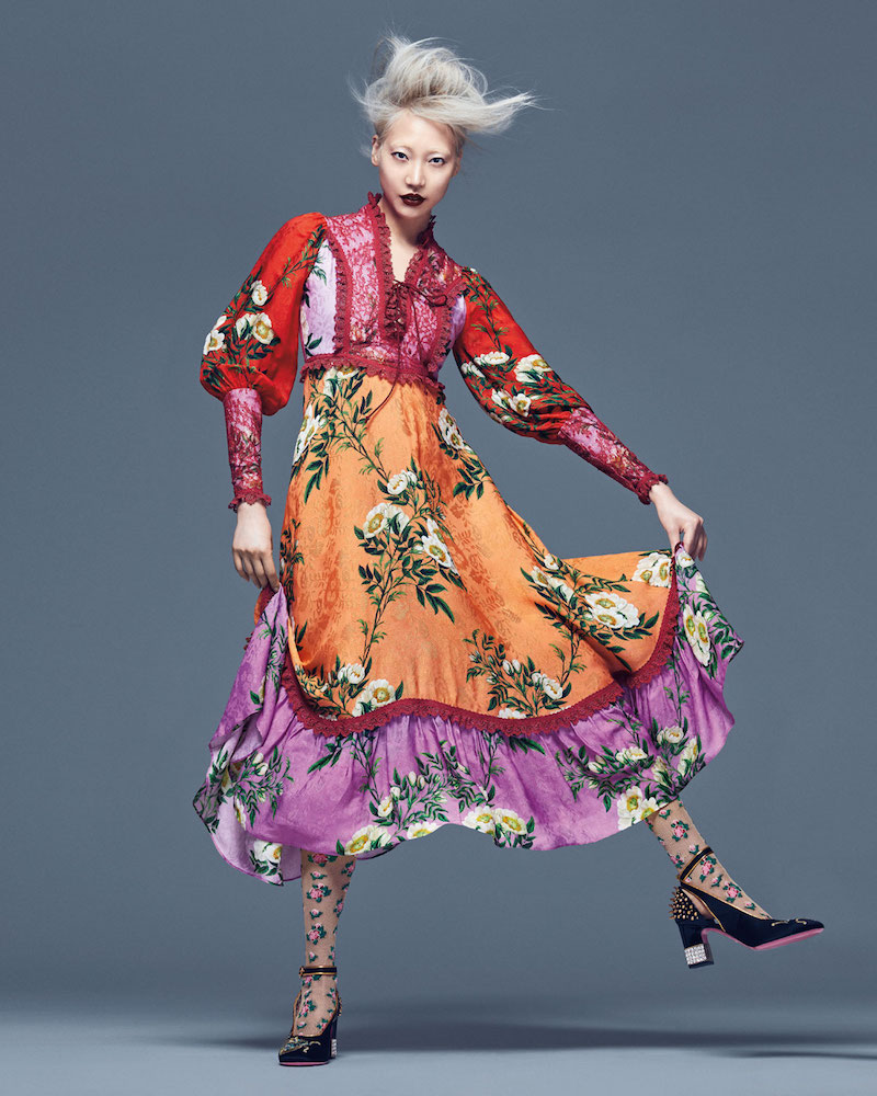 Gucci Rose Branches Printed Flower Jacquard Dress