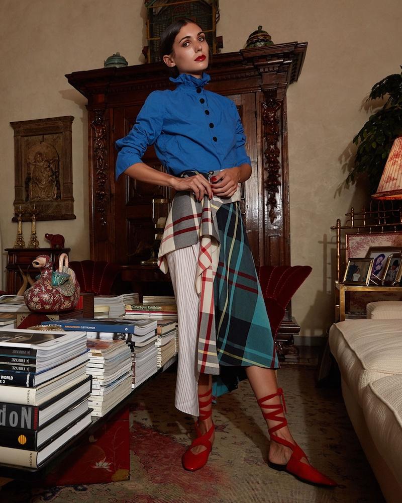 J.W.Anderson Asymmetric-Hem Patchwork Midi Skirt