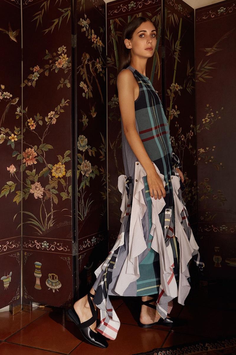 J.W.Anderson Ruffled-Hem Patchwork Dress