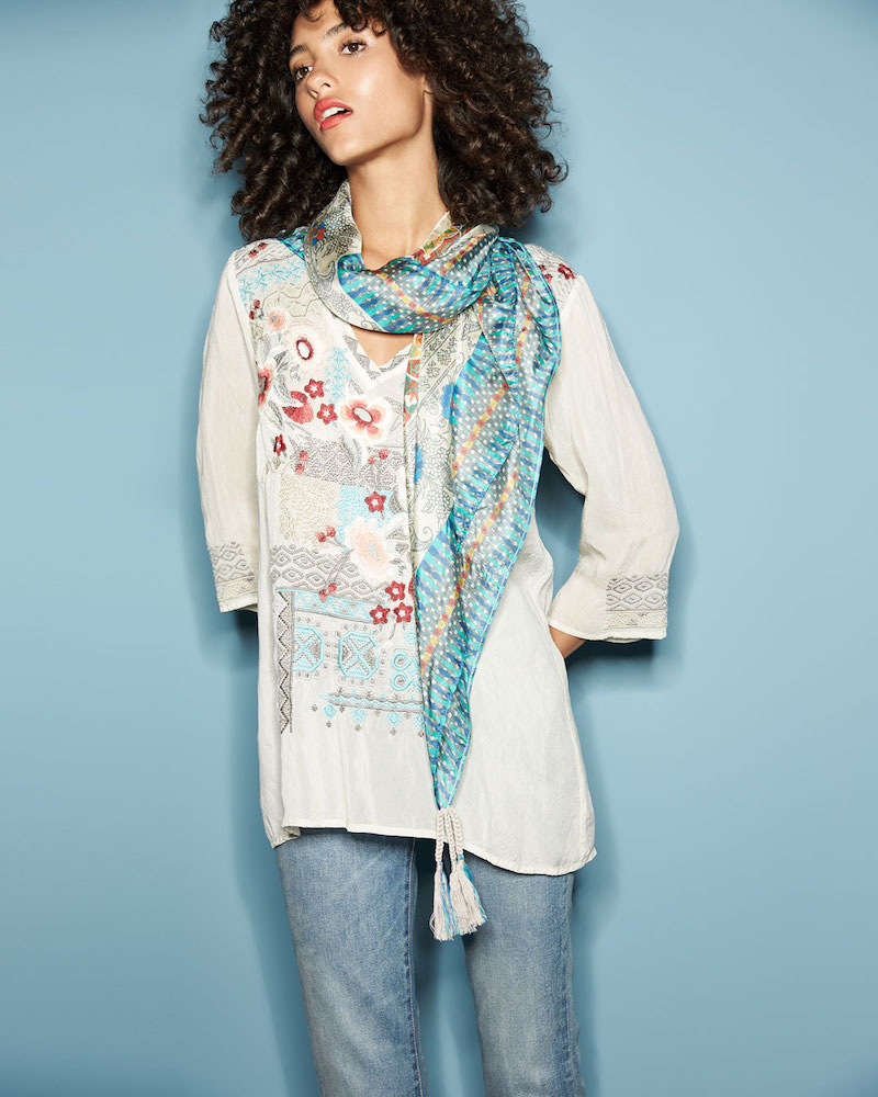 Johnny Was Freyja Embroidered 3 4-Sleeve Blouse