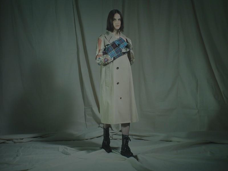 Junya Watanabe Comme des Garçons Patchwork-Sleeve Cotton Trench Coat