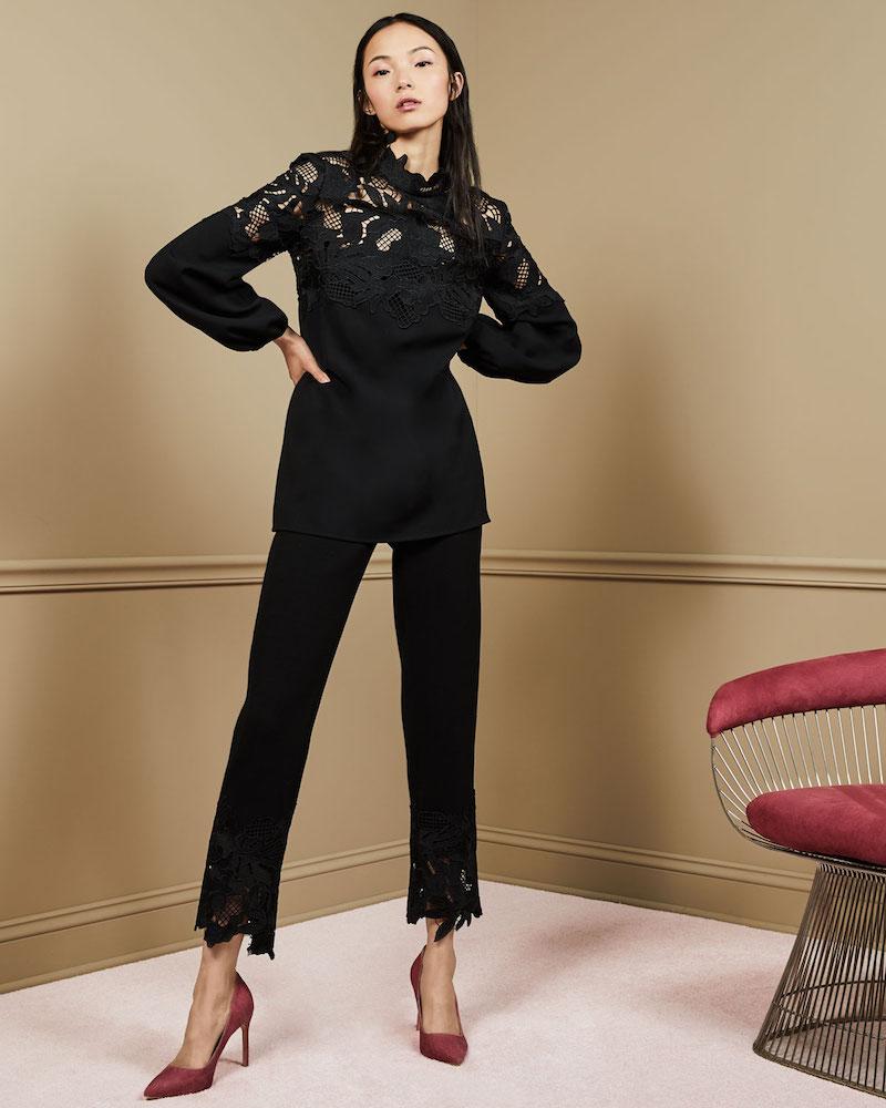 Lela Rose Guipure Lace-Hem High-Waist Wool Crepe Pants