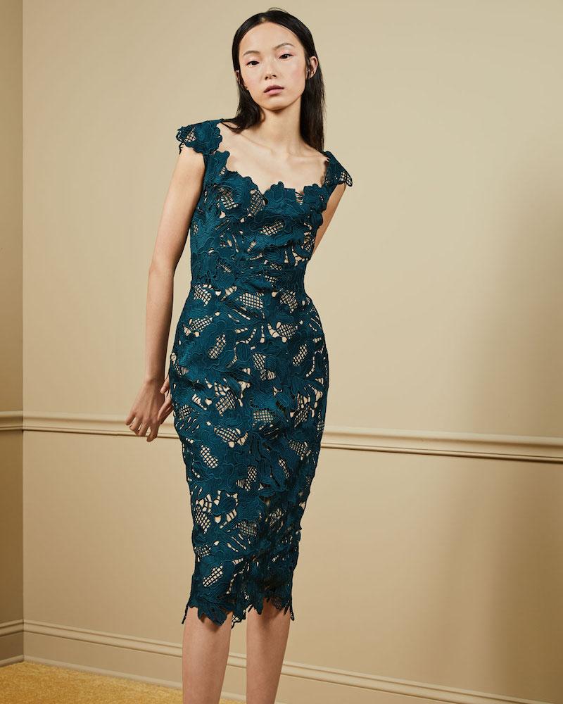 Lela Rose Scoop-Neck Guipure Lace Midi Dress