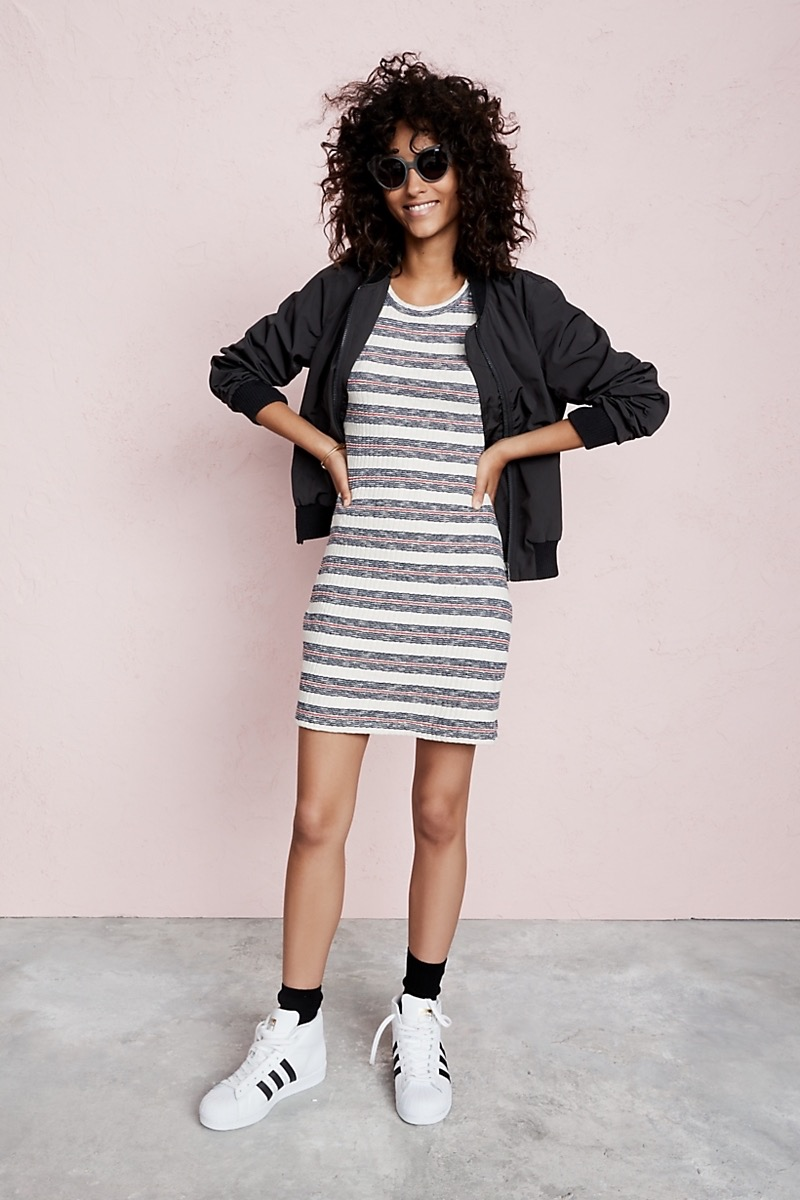 Madewell Short-Sleeve Mini Dress In Lawton Stripe