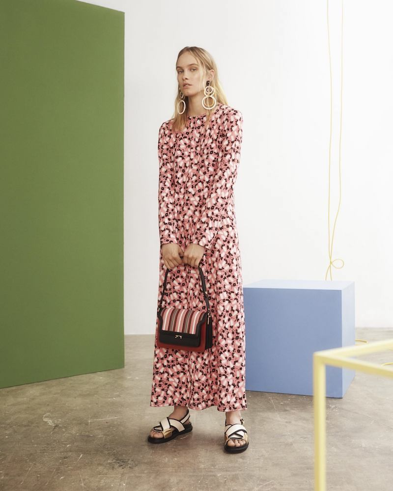 Marni Plum-Print Long-Sleeved Crepe Dress