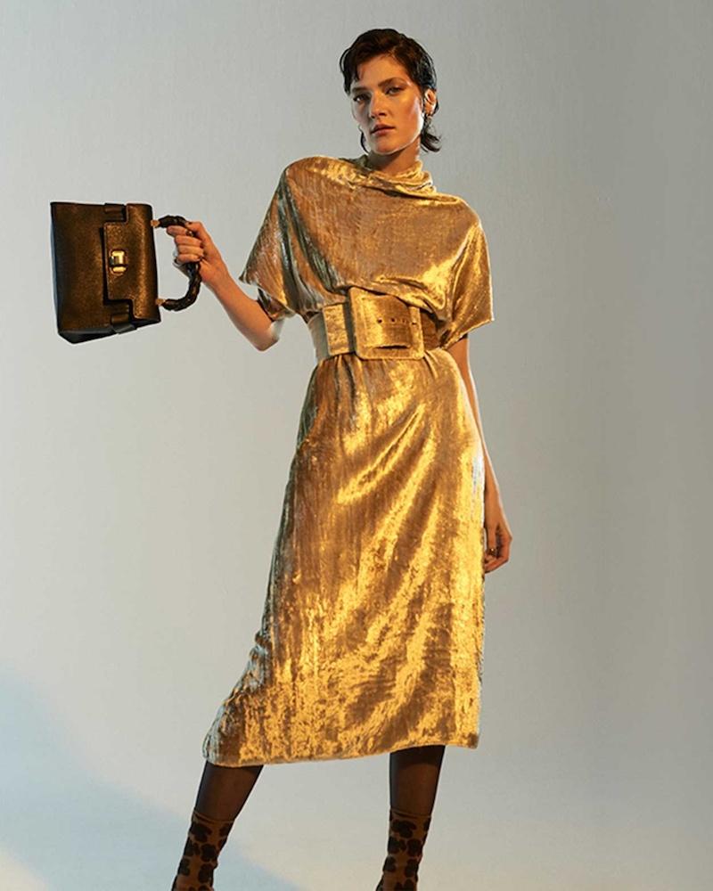 Martin Margiela Detachable-Belt High Neck Velvet Dress