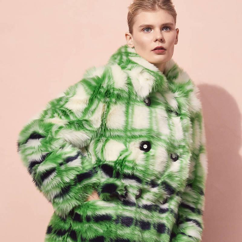 Miu Miu Checkered Eco-Fur Double-Breasted Coat
