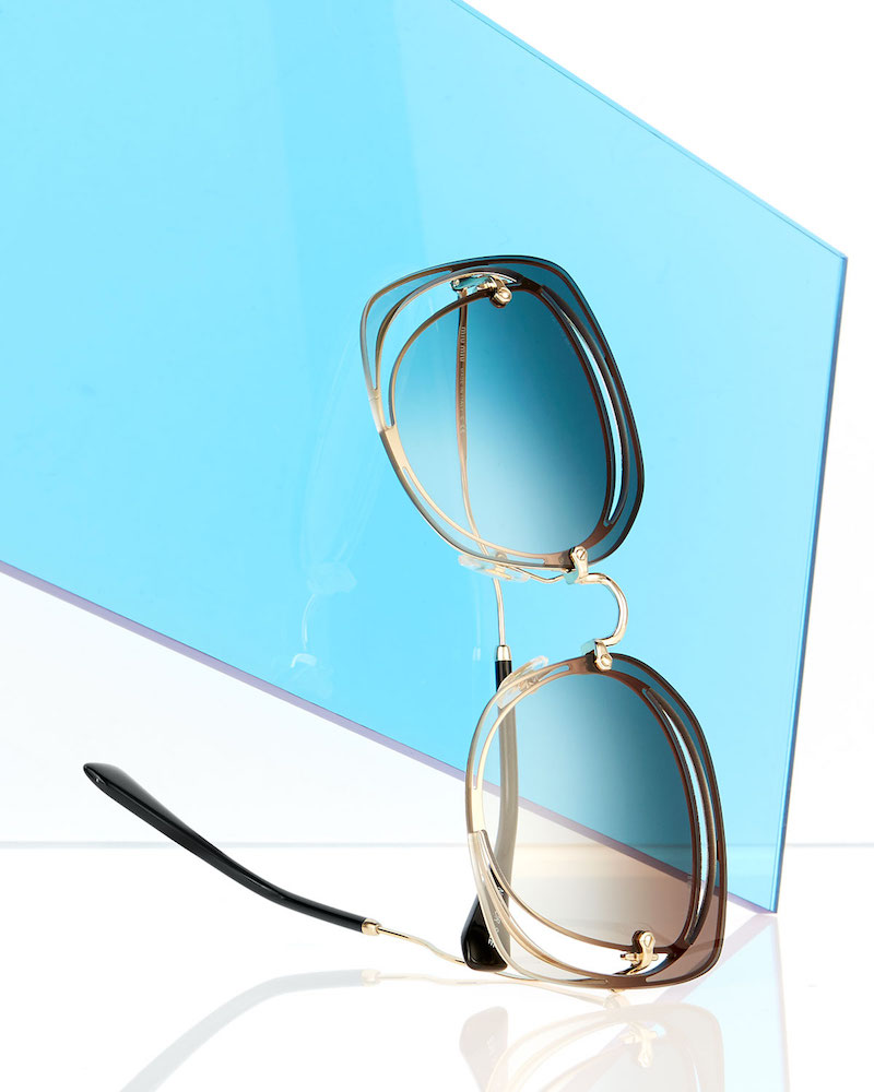 Miu Miu Gradient Square Cutout Metal Sunglasses