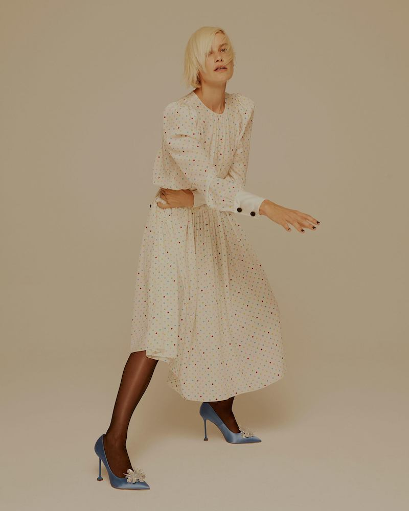 Miu Miu Polka-Dot Print Long-Sleeved Silk Dress