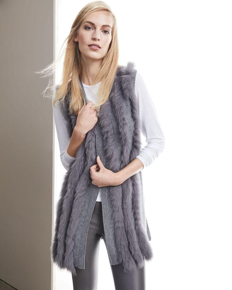 Neiman Marcus Cashmere Collection Cashmere Vest with Fox Fur Stripes