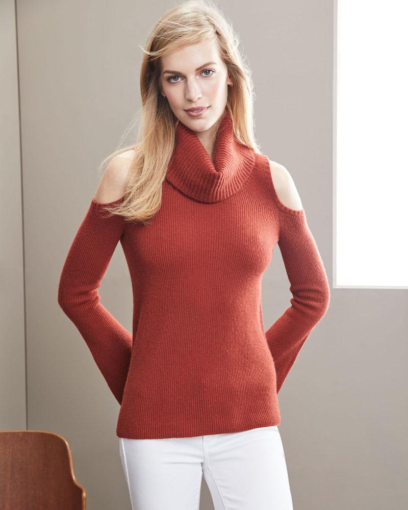 Neiman Marcus Cashmere Collection Ribbed Cold-Shoulder Cashmere Turtleneck