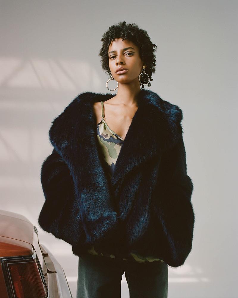 Nili Lotan Sedella Faux Mink Fur Coat