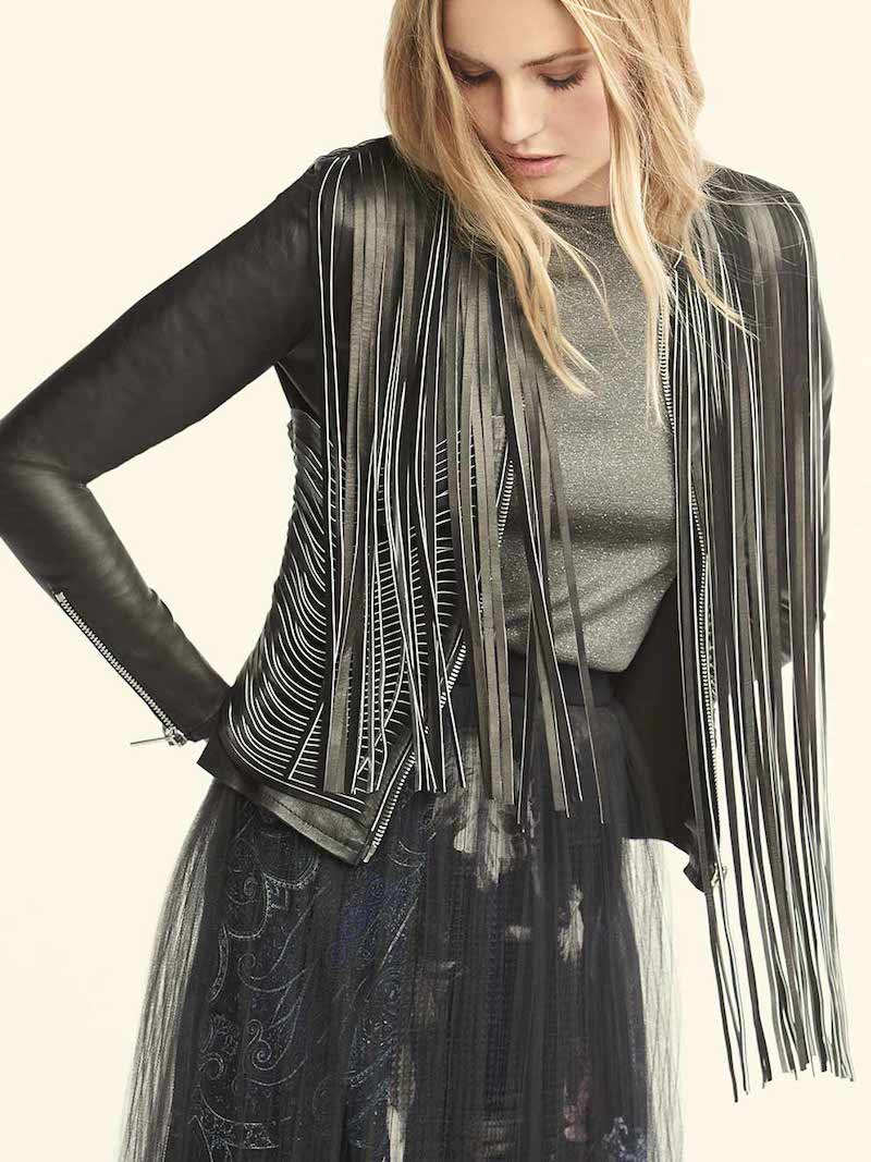 Nour Hammour Retrograde Fringed Leather Biker Jacket