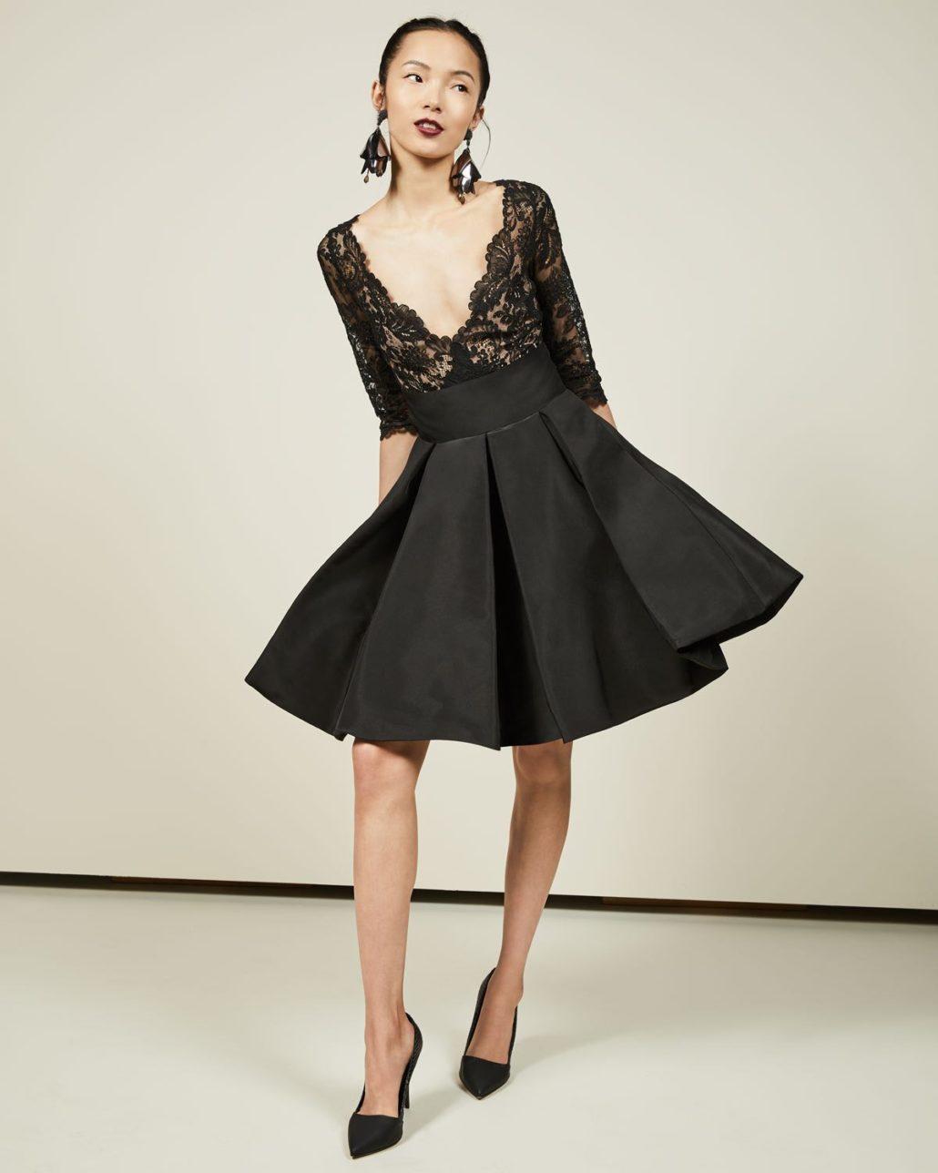 Oscar de la Renta 3/4-Sleeve Lace Bubble-Skirt Cocktail Dress