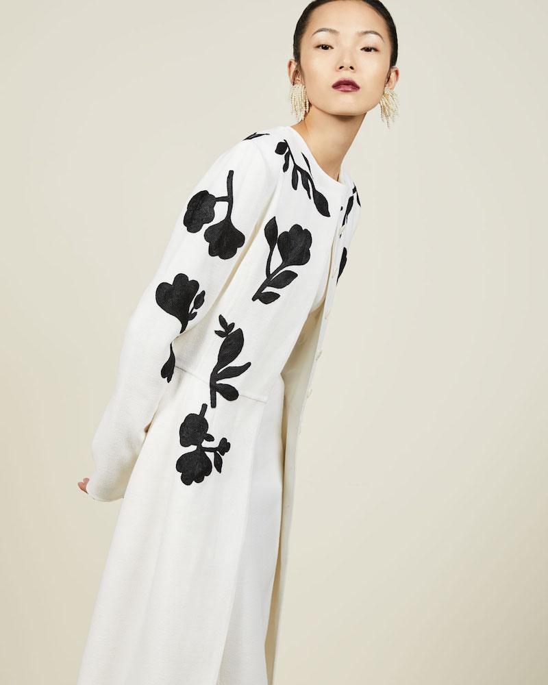 Oscar de la Renta Floral-Embroidered Crepe Coat