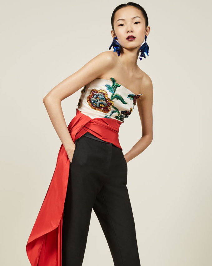 Oscar de la Renta Floral-Embroidered Strapless Top with Sash