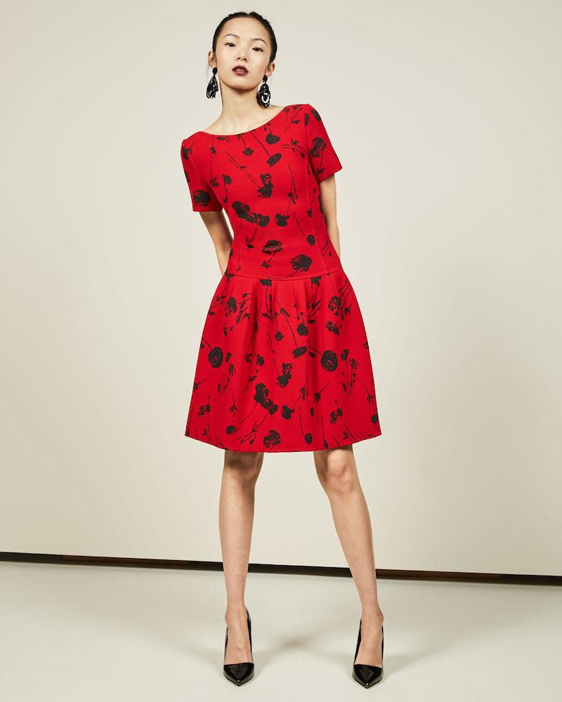 Oscar de la Renta Poppy-Print Short-Sleeve Fit & Flare Dress