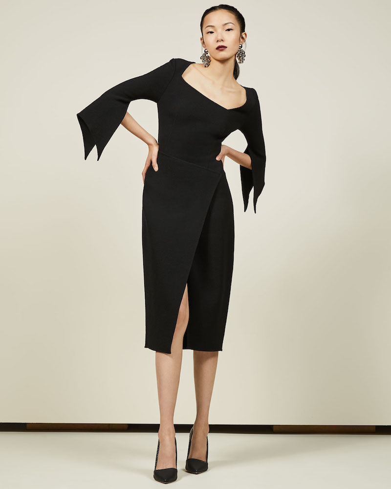 Oscar de la Renta Virgin Wool Crepe Fit & Flare Minidress