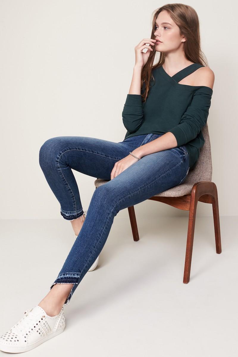 PAIGE Transcend - Hoxton Slant Undone Hem Skinny Jeans