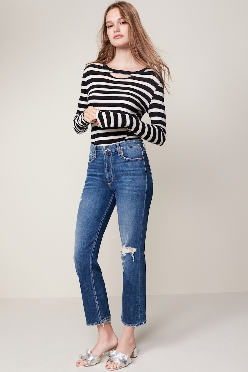 PAIGE Vintage Sarah High Waist Crop Straight Leg Jeans
