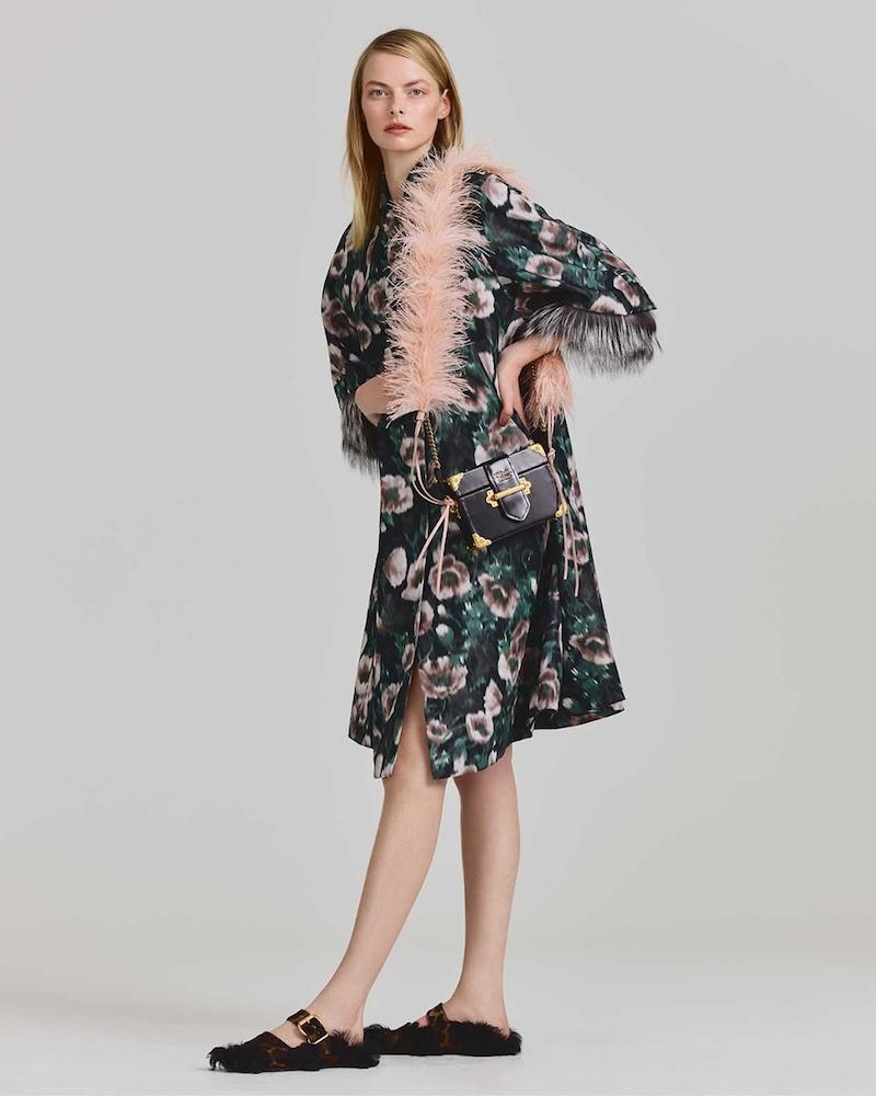 Prada Fur-Cuff Anemone-Print Faille Coat