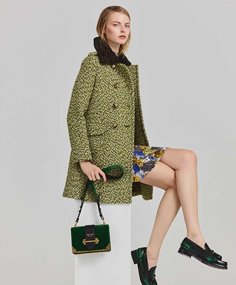 Prada Shearling-Collar Tweed Coat