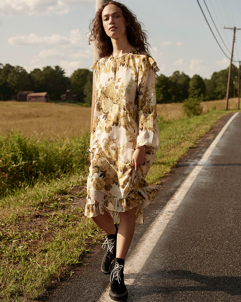 Robert Rodriguez Ruffle Floral Silk Chiffon Dress