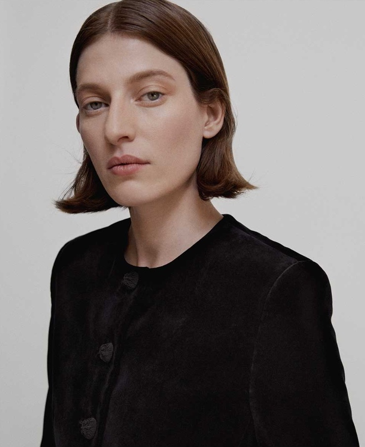 Saint Laurent Collarless Cotton-Velvet Jacket