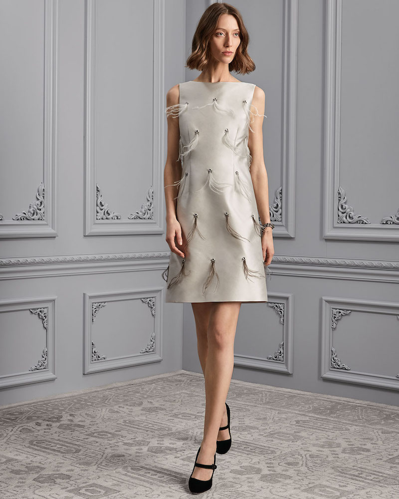 St. John Collection Bateau-Neck Hand-Beaded Cocktail Dress with Feathers