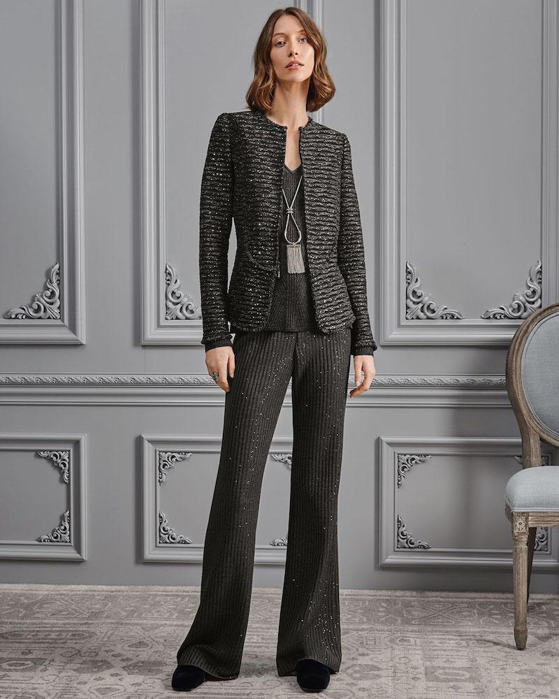 St. John Collection Faux-Rib Sequin Knit Flare-Leg Pants