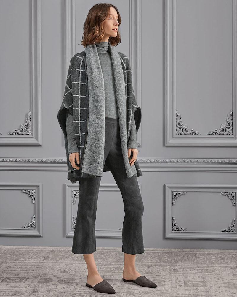 St. John Collection Felted Wool Windowpane Jacquard Shawl