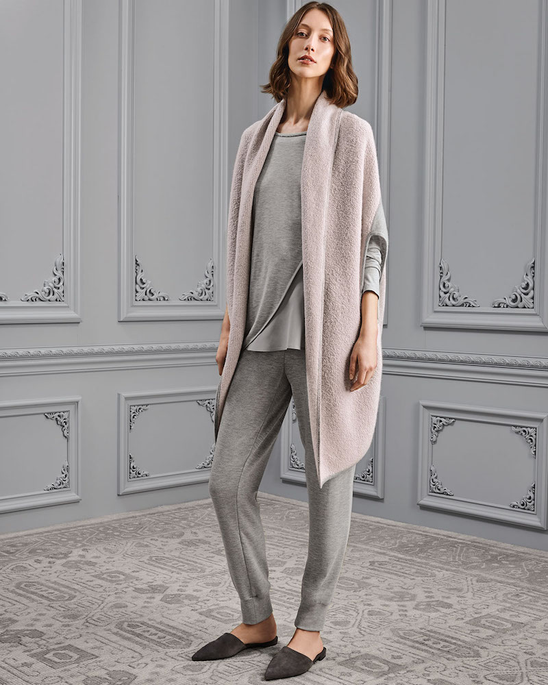 St. John Collection Jersey Cashmere Shawl-Collar Cardigan with Sequins Trim