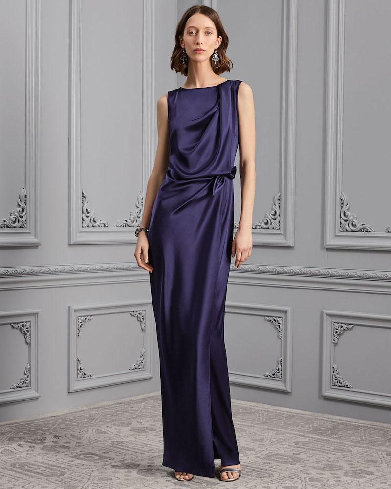 St. John Collection Liquid Satin Waist-Tie Gown