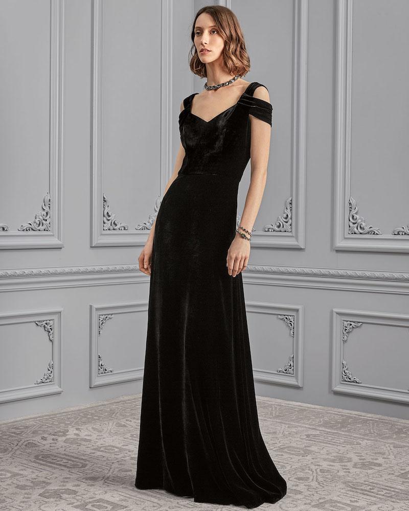 St. John Collection Rayon:Silk Velvet V-Neck Gown