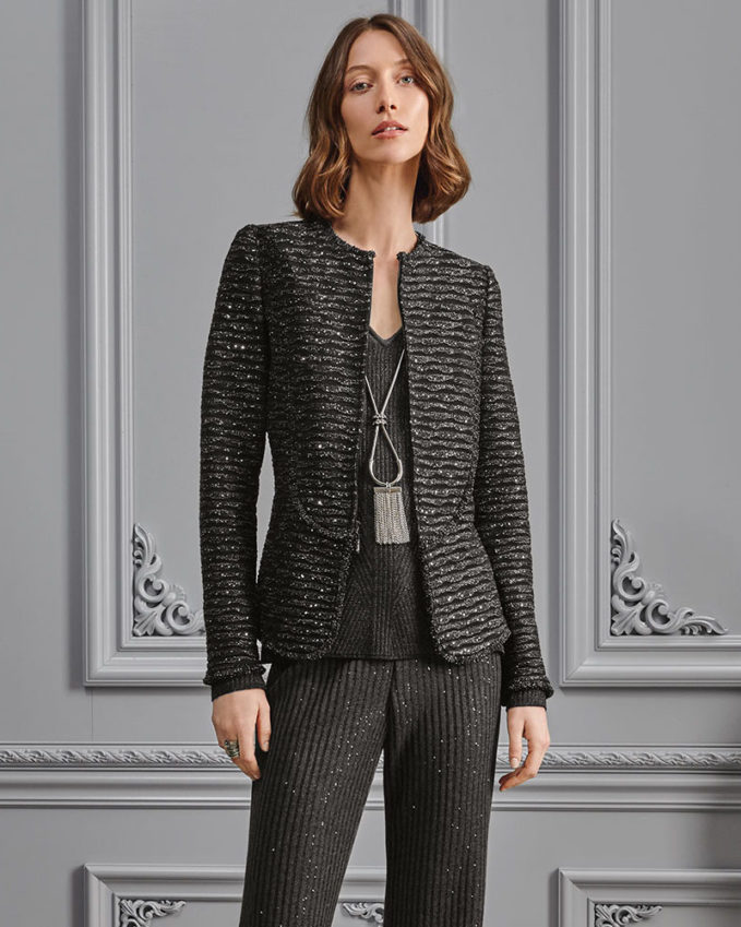 St. John Collection Sparkle Wave Tweed Knit Jacket