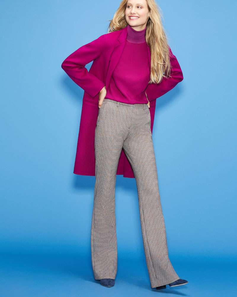 Theory Demitria 2 Check Stretch-Wool Flared Pants
