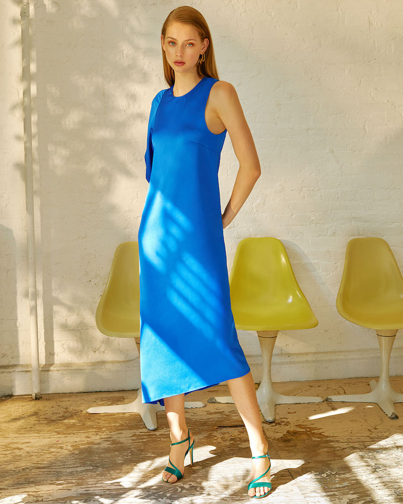 Tibi Celestia One Sleeve Bias Dress