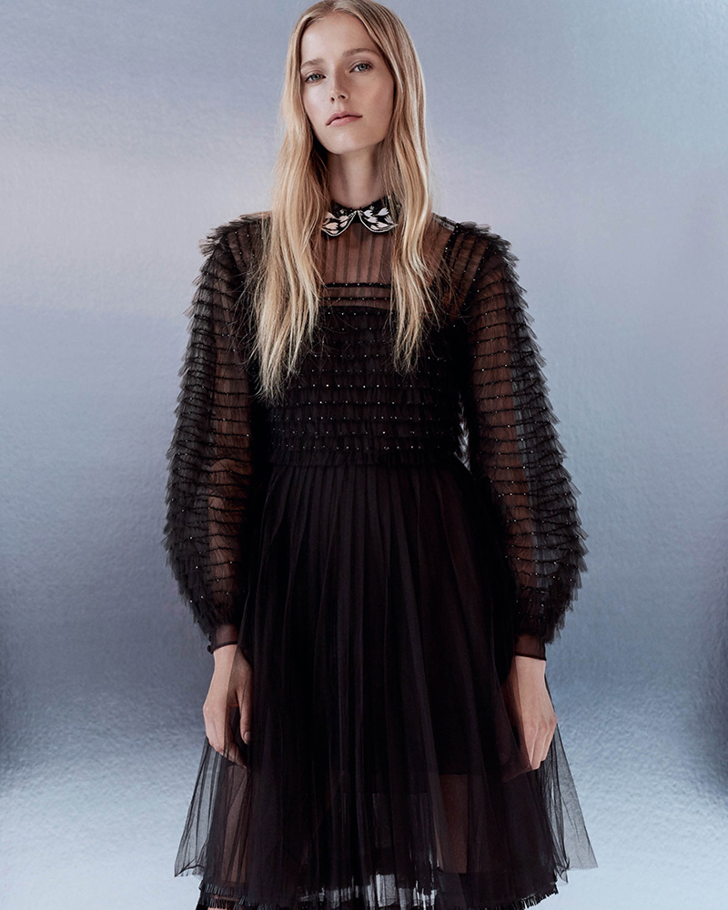 Valentino Embellished Silk Tiered Tulle Shirtdress