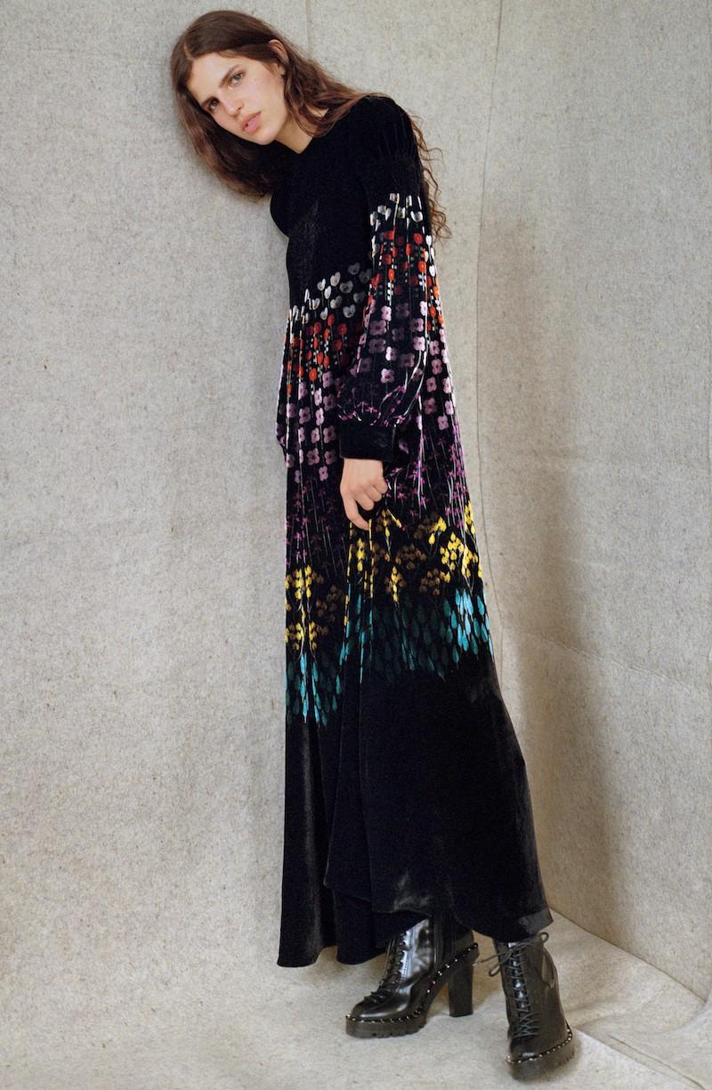 Valentino Floral Stem Velvet Jacquard Gown