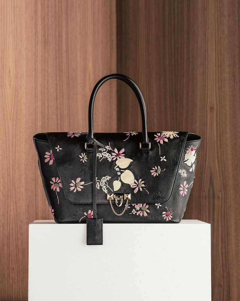Valentino Garavani Demilune Floral-Print Double-Handle Small Satchel Bag