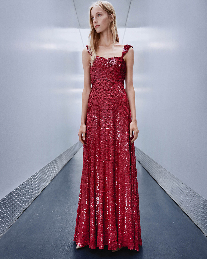 Valentino Sequin-Embellished Silk Gown