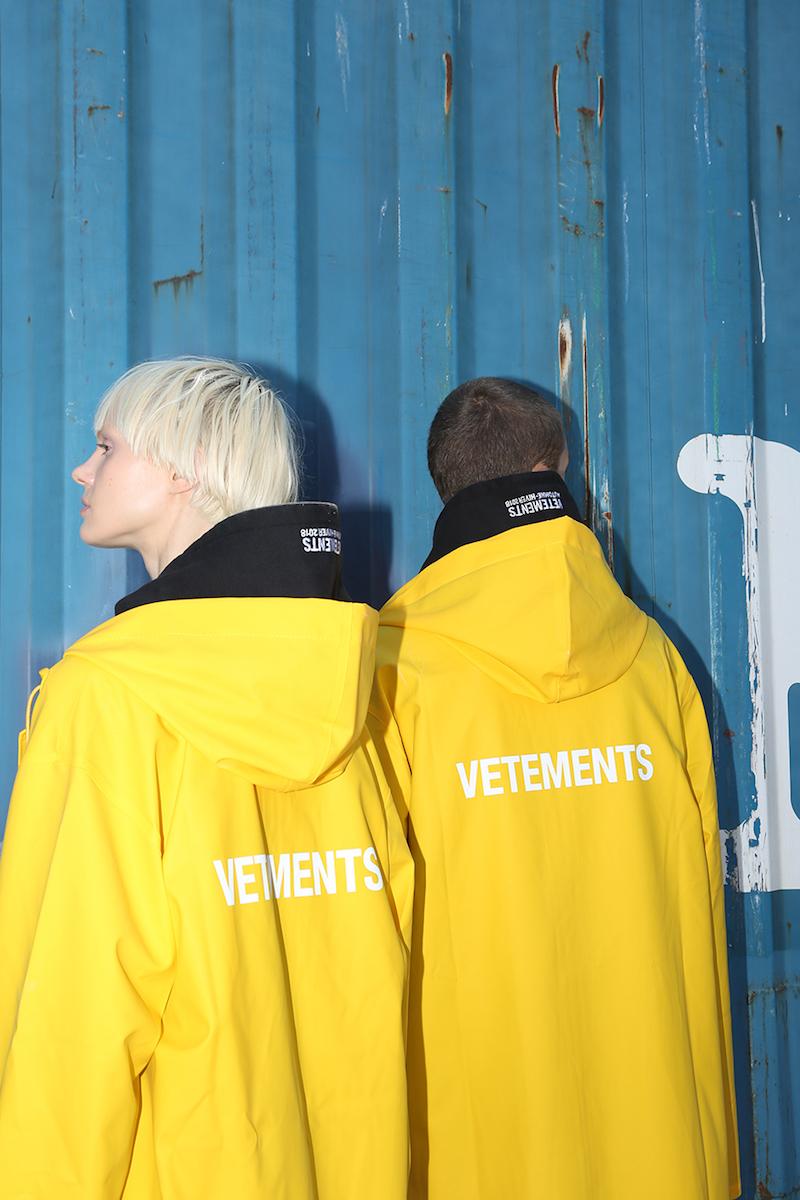 Vetements Hooded Logo Printed Raincoat