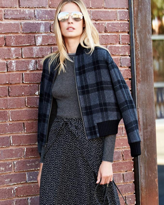 Vince Tonal Plaid Wool-Knit Bomber Jacket