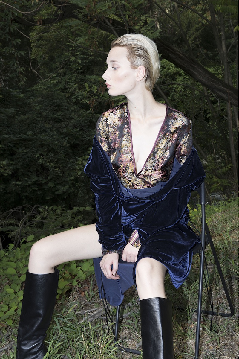 Act n°1 Silk Blend Brocade & Draped Velvet Dress